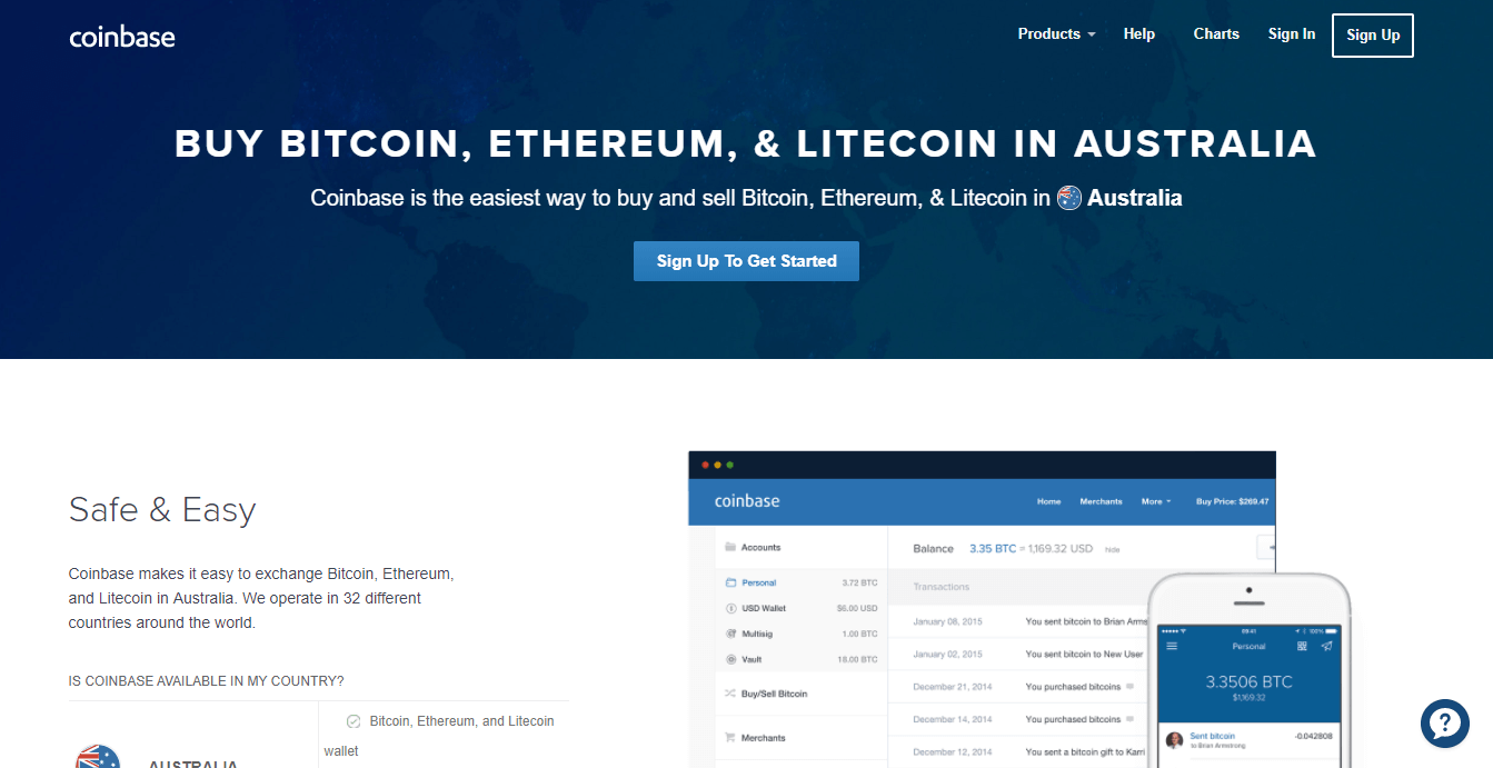 buy bitcoin australia at Coinbase