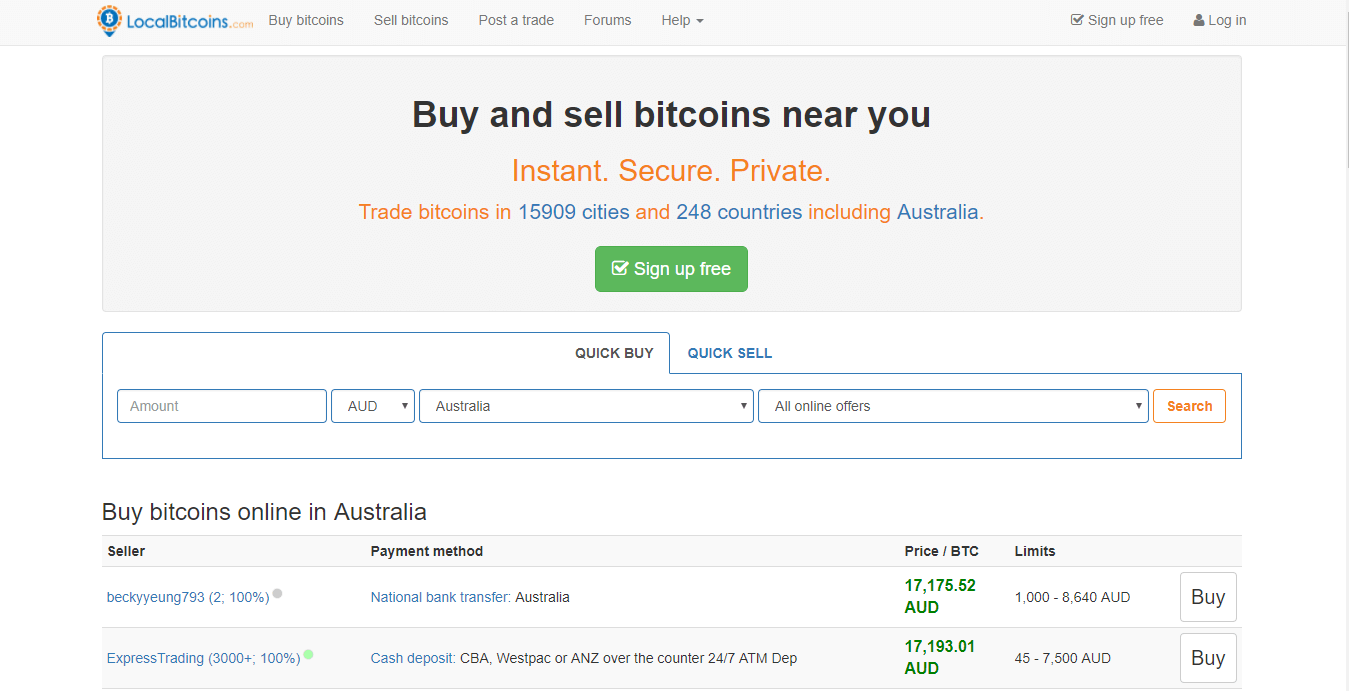 buy bitcoin australia at Local Bitcoins