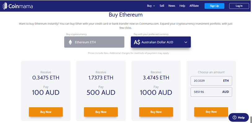 buy Ethereum from Coinmama with debit or card