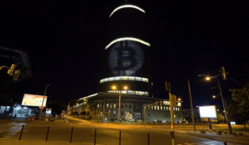 Activists Shine Bitcoin Logo on Slovakias Central Bank to Protest Hostile Regulations