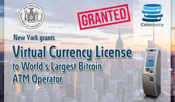 Bitcoin ATM Company Coinsource Becomes the First in the Sector to Win NY Bitlicense