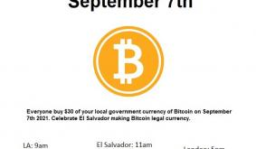 Tomorrow, The Community Will Buy $30 In BTC To Support El Salvadors Bitcoin Law